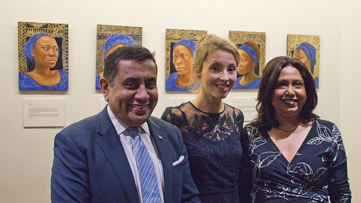 The artist Hannah Rose Thomas with Lord Ahmad and SRSG Pramila Patten.