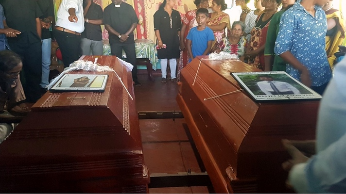 Funeral of bomb victims in Sri Lanka